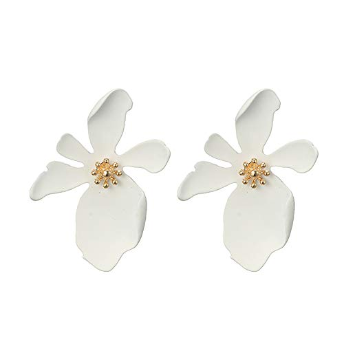 Lazzgirl Frauen lange dreidimensionale Blütenblätter Ohrringe Mode große Blume Ohrringe(Weiß,One ()