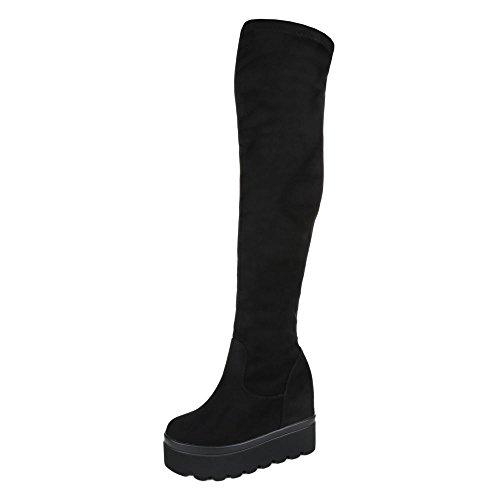 Overknee Stiefel Damenschuhe Klassischer Stiefel Keilabsatz/ Wedge Keilabsatz Reißverschluss Ital-Design Stiefel Schwarz