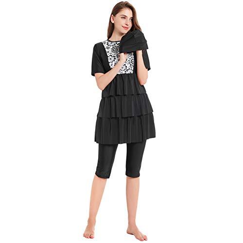 r Muslimischer Badeanzug für Frauen - Kurzarm Bescheidene Badebekleidung Set Hijab Druck Surfanzug Schnell Trocknender Badeanzug Elastizität Schwimmen Kostüm Sonnenschutz ()