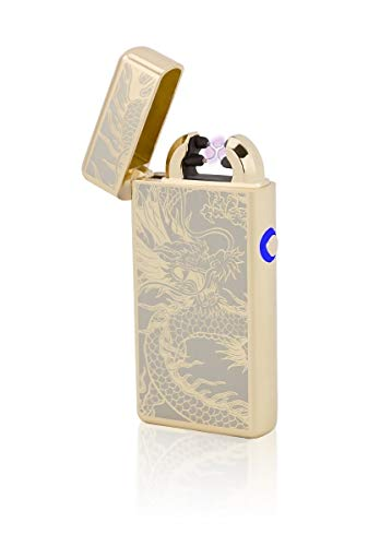 TESLA Lighter T08 | Lichtbogen Feuerzeug, Plasma Double-Arc, elektronisch wiederaufladbar, aufladbar mit Strom per USB, ohne Gas und Benzin, mit Ladekabel, in Edler Geschenkverpackung, Gold Drache