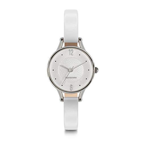 Lambretta - Reloj de Cuarzo analógico pequeño de 26 Pulgadas, de Acero Blanco y Piel, para Mujer