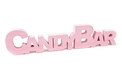 Schrift-zug/Holz-aufsteller Candy-Bar aus Holz in rosa - Hochzeit/Hochzeits-Dekoration/Candy-Bar/Deko-Aufsteller/Hochzeits-Zubehör/Dekoration/Deko-Figur
