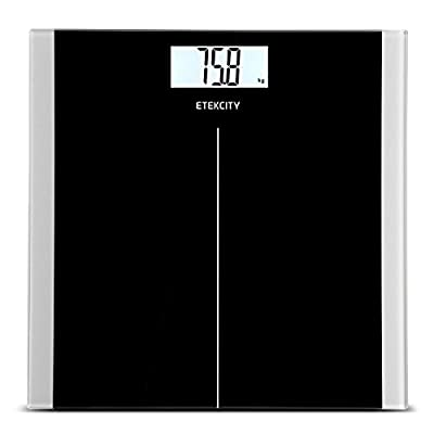 Etekcity High Precision Digital Body Weight Bathroom Scales with Step-On Technology, 28st/180kg/400lb, Backlight Display, Slim Design, Elegant Black