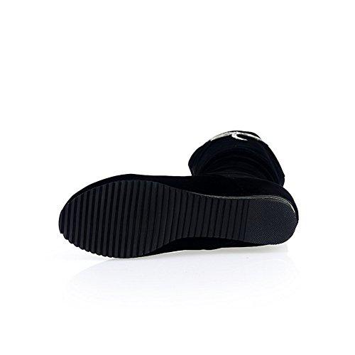 Odomolor Damen Eingelegt Mattglasbirne Ziehen Auf Rund Zehe Stiefel Schwarz