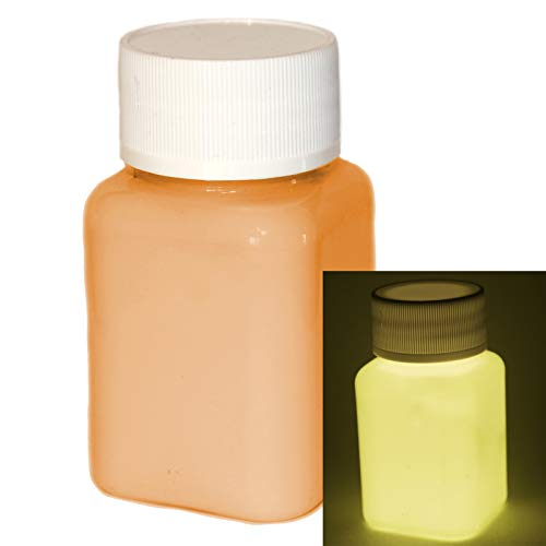 uchtfarbe Orange 100ml - Im Dunkeln leuchtende, phosphoreszierende Farbe. Nachleuchtende UV Glühfarbe zum Malen, Basteln und Zeichnen. Selbstleuchtende Acrylfarbe mit Glow-Effekt. ()