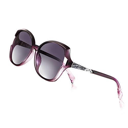 PORPEE Gafas de Sol Mujer Polarizadas, 2019 Gafas de Sol Moda con Tecnología de Incrustación de Diamante - Lente de Nylon Polarizado | UV400 Protection | Resistencia al Deslumbramiento - D7270