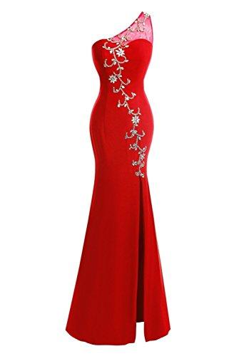 Fanciest Damen One Shoulder Split Dresses Lang Ball Kleider ...