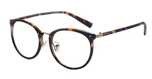 ALWAYSUV Retro Metall Steg Klare Linse Rund Optische Stärke Rahmen Brillenfassung Leopard - Brillengestell