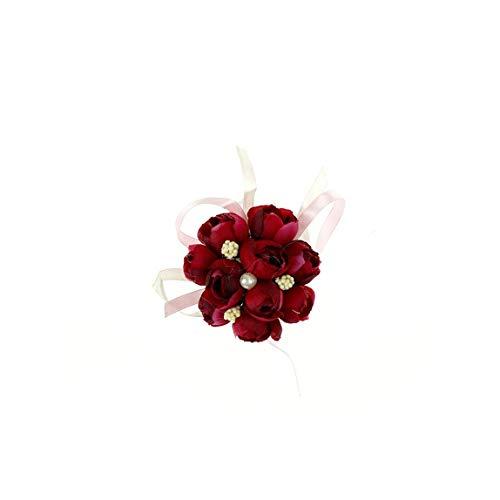 1pcs Romantische Art Kreative Design Hochzeit Artificial Silk Brautjungfer Blumen für Hochzeit Braut Handgelenk Blumen, rot