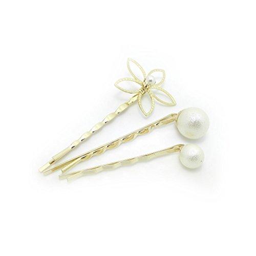 Meilliwish 3PCS Une fleur perle perle Femmes Filles Épingle à cheveux(A79)(3PCS)