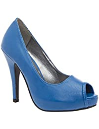 Navy Blue suedette concealed platform court shoes with silver toe cap and metal stiletto heel