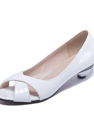 WSS 2016 Chaussures Femme-Habillé / Décontracté-Noir / Bleu / Rose / Blanc-Talon Bas-Bout Ouvert / Escarpin Basique-Talons-Cuir Verni white-us9 / eu40 / uk7 / cn41