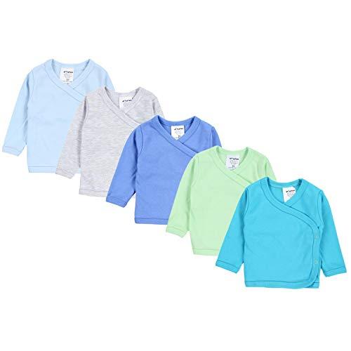 TupTam Baby Jungen Langarm Wickelshirt Baumwolle 5er Set, Farbe: Mehrfarbig 5, Größe: 62