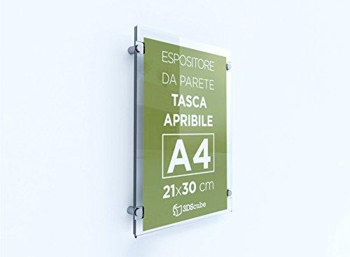 Espositore in plexiglass da parete, targa a tasca apribile in plexiglass, porta avvisi e depliant formato a4 verticale 21×30 cm, completa di distanziali in alluminio