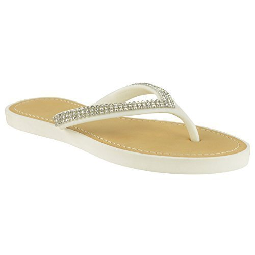 679694dec753 WOMENS LADIES DIAMANTE JELLY SANDALS SUMMER BEACH FLIP FLOPS TOE POST SHOES  SIZE (UK 8
