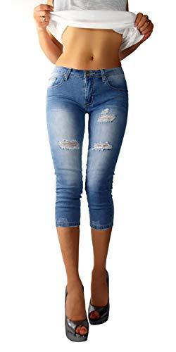 if she Damen Skinny Capri Jeans 3/4 Hose blau verwaschen Distressed Ripped zerrissen Stretch, Größe:S, Farbe:Blau -