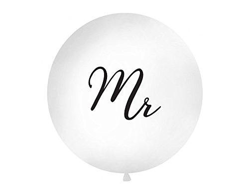 PartyDeco Hochzeit XXL Riesen Luftballon Ø 1m Mr weiß/schwarz