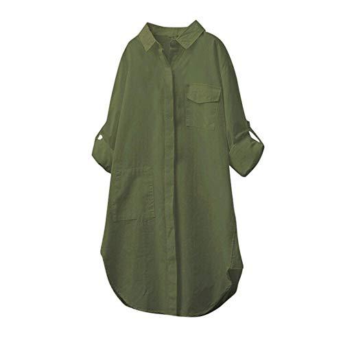 gsgeschenkTops Damen Sommer Täglich Bettwäsche Aus Baumwolle Beiläufig Solide Langarm-Shirt Persönlichkeit Bluse Weste Mit Knöpfen(Armeegrün,XL) ()