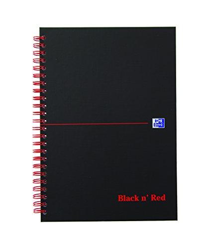 OXFORD 400047652 Spiralbuch Black n' Red A5 kariert mattes Hardcover 70 Blatt schwarz/rot Notizblock Schreibblock Collegeblock Oxford Welt
