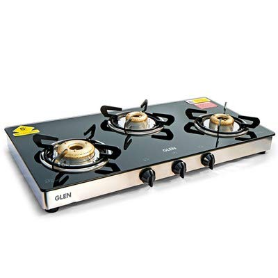 Glen 3 Burner Glass Gas Stove 1033 GT XL Forged BB Double Drip Tray