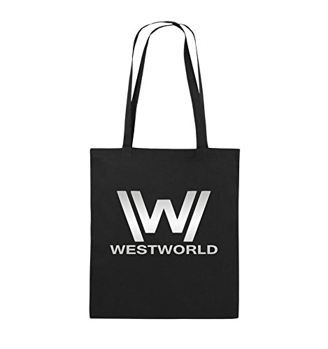 Comedy Bags - WESTWORLD - LOGO - Jutebeutel - lange Henkel - 38x42cm - Farbe: Schwarz / Pink Schwarz / Silber