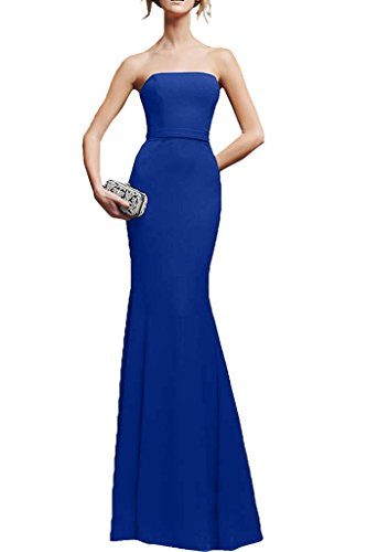 Victory Bridal Einfach Chiffon Traegerlos Damen Abendkleider Ballkleider Partykleider Meerjungfrau Royal Blau