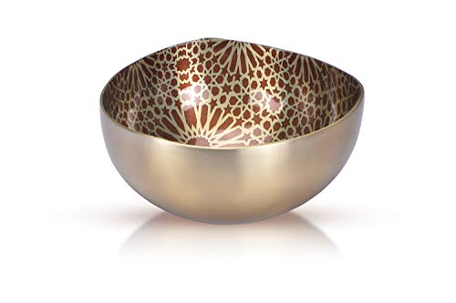 Jasper - Designer Multipurpose nut Bowl with Geometric Pattern for Keeping Nuts, Candy, Dry Fruits, Snacks, Cookies etc. and Also, for Home Decoration (Champagne-5.5 inch)