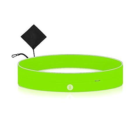 Laufgürtel mit Reißverschlusstasche für Handy Geld Schlüssel Smartphone -reflektierend- Jogging Fitness Sport-Bauchtasche Gürtel-Tasche Hüfttasche Fanny Pack Body Bag Hipbag Lauftasche Lauf-Gurt
