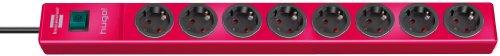 Brennenstuhl hugo! Steckdosenleiste 8-fach (mit Schalter und 2m Kabel, Gehäuse aus bruchfestem, stabilem Polycarbonat) Farbe: rubinrot