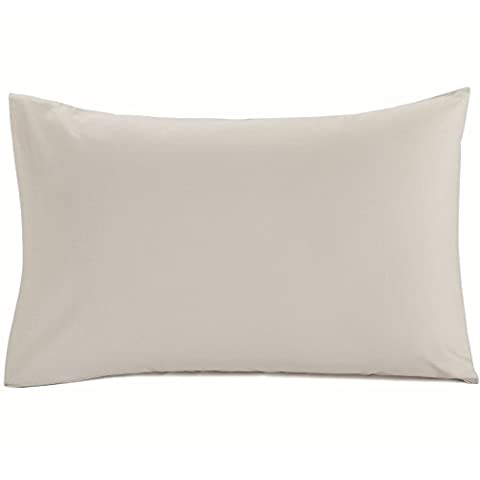 Plain Dyed 100% Cotton Percale Housewife Pillowcases - Stone