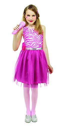 (SYMTOP Halloween Kostüm Mädchen 80er Popstar Kleid Süß Outfit Cosplay Prinzessin Rosa Zebramuster Party)