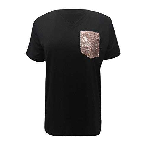 CUTUDE Damen Kurzarm Sommer Frauen Einfache Leopard Print Tasche V-Ausschnitt T-Shirt Lose Top (Schwarz, X-Large)