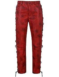 Smart Range Herren Biker Lederhose Dirty Red Geschnürt Motorrad Stil 100%  Lammfell 00126 1433ee90bd