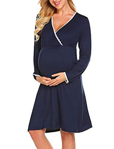 Maxmoda vestito da maternità donna abito di maternità allattamento camicia da notte premaman scollo a v a maniche lunghe elegante navy blu