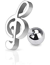 Paula & Fritz® pendientes de acero inoxidable 316 l de barra tragus con estilo musical
