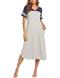 5b11dbea27006a Nachthemd Damen Pyjamas Nachtkleid Sommer V-Ausschnitt Kurzarm Nachtwäsche  Kleid Casual…