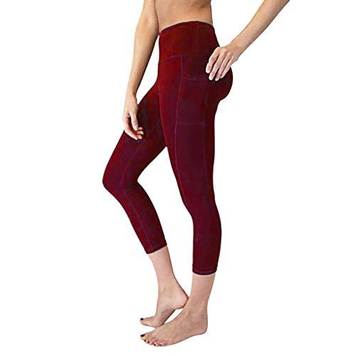 Amoyl Damen Sommer Sport Hose Strumpfhose mit Taschen 3/4 hohe Taille Bauch Training Laufen Sport Leggings Jogger Hose für Smartphone Handy Tasten Yoga (Wein, XL)