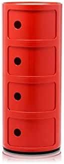 Kartell Componibili Contenitore 4 Elementi, Base Tonda, ABS, Rosso, 32 x 32 x 77 cm