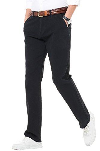 HARRMS Herren 100% Baumwolle Hose, Regular Fit, Straight Leg, Lange Business Hose Casual Stoffhose Freizeithose,Schwarz,40