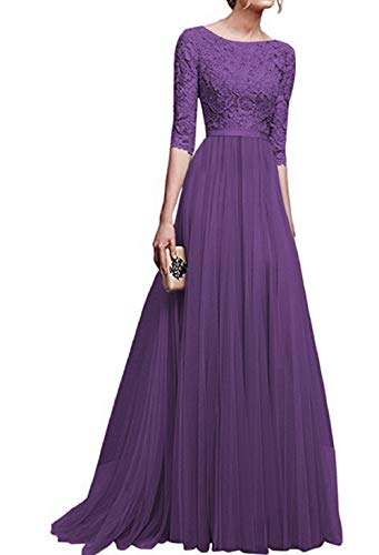 LYQPD Women es Vintage Elegant 2/3 Sleeves Floral Lace Tulle Evening Cocktail Prom Ball Gown Long Maxi Wedding Bridesmaid Chiffon Dress,Purple,S (Womens Purple Cocktail Dresses)