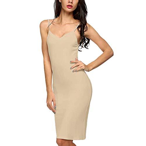 Kurzen Schlaf Kleid (Elegante Kleider Damen Kleid Cocktailkleider Ronamick Frauen Casual solide v-Neck Strap Kleid schlank Schlaf Hemd Nachthemd Minikleid(L, Beige))