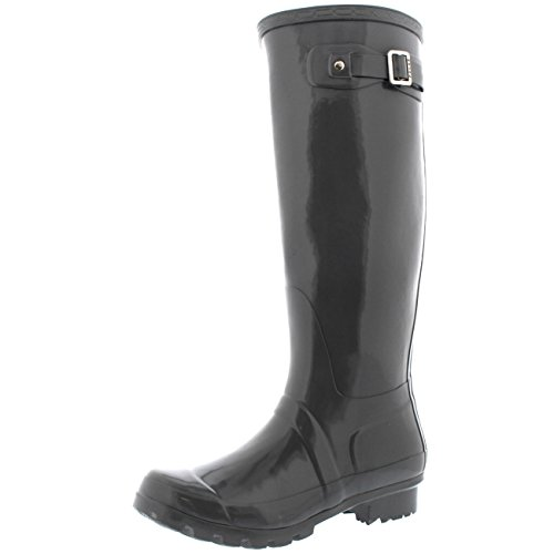 Damen Original Tall Gloss Winter Wasserdicht Regen Gummistiefel Stiefel Grau