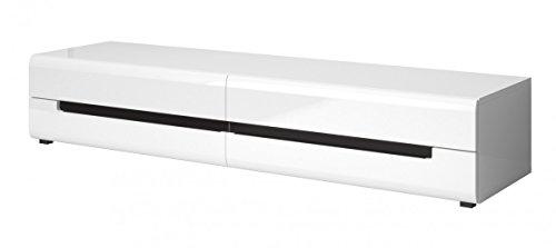 Dreams4Home Wohnwand 'Steel' – TV-Schrank B/H/T: 180 x 34 x 50 cm, Wandboard B/H/T: 170 x 22 x 22 cm, Hängevitrine B/H/T: 60 x 128 x 37 cm, Highboard B/H/T: 90 x 130 x 37 cm, Wohnzimmer, in Laminat weiß Hochglanz, Ausfühung Anschlag:rechts - 3