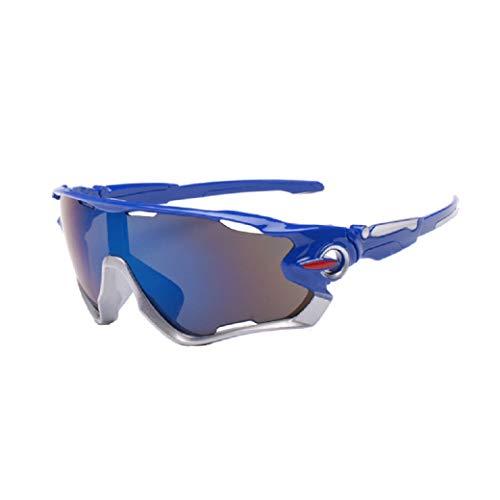 zolimx Las Nuevas Gafas de Sol de la Lente UV400 Que Completan un Ciclo Los Vidrios de Ciclo de la Bici de Montaña de Los Deportes (Azul)
