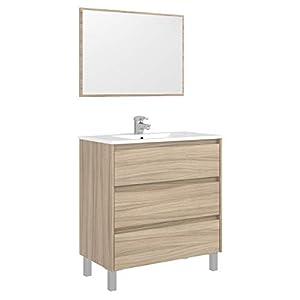 Miroytengo Mueble Aseo con Espejo 3 cajones Mueble baño Lavabo Moderno Color Nature 80x45x86 cm Incluye LAVAMANOS CERÁMICO