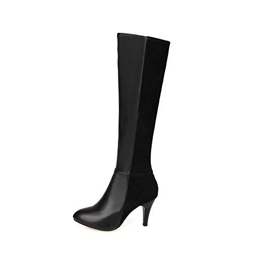 VogueZone009 Damen Hoher Absatz Rund Zehe Blend-Materialien Stiefel Schwarz