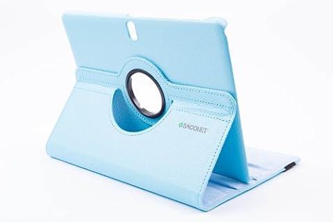 Saconet Étui de protection intégral en cuir écologique Rotatif 360° pour Samsung Galaxy Tab 2 3 7.0 7 8 8.0 avec stylet et film protecteur TAB PRO 10.1 - bleu ciel