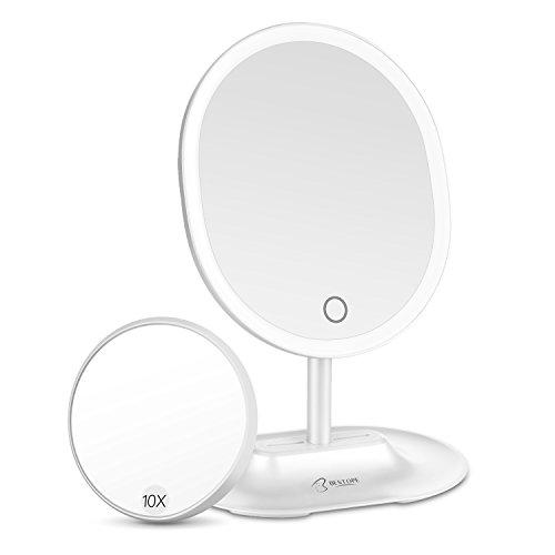 BESTOPE LED Schminkspiegel mit 1X / 10X Vergrößerung, Natürliche beleuchtete Kosmetikspiegel Touchscreen, USB & Batterie-Netzteil, ovale Dimmbare Arbeitsplatte Kosmetikspiegel (Weiß)