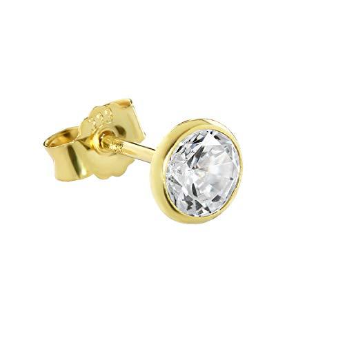 NKlaus Single Ohrstecker echt Gold 333er 5,5mm Cubic Zirkonia Damen Herren 0,81g 3753