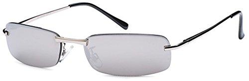 BEZLIT Herren Sonnenbrille Rechteckbrille New Matrix Evo Fliegerbrille Silber